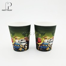 Party supplies 8PCS Ninja theme party decoration disposable tableware one-off paper cups cup glass glasses(China)