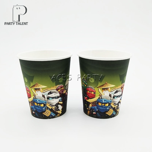 Party supplies 8PCS Ninjago theme party decoration disposable tableware one-off paper cups cup glass & Party supplies 8PCS Ninjago theme party decoration disposable ...
