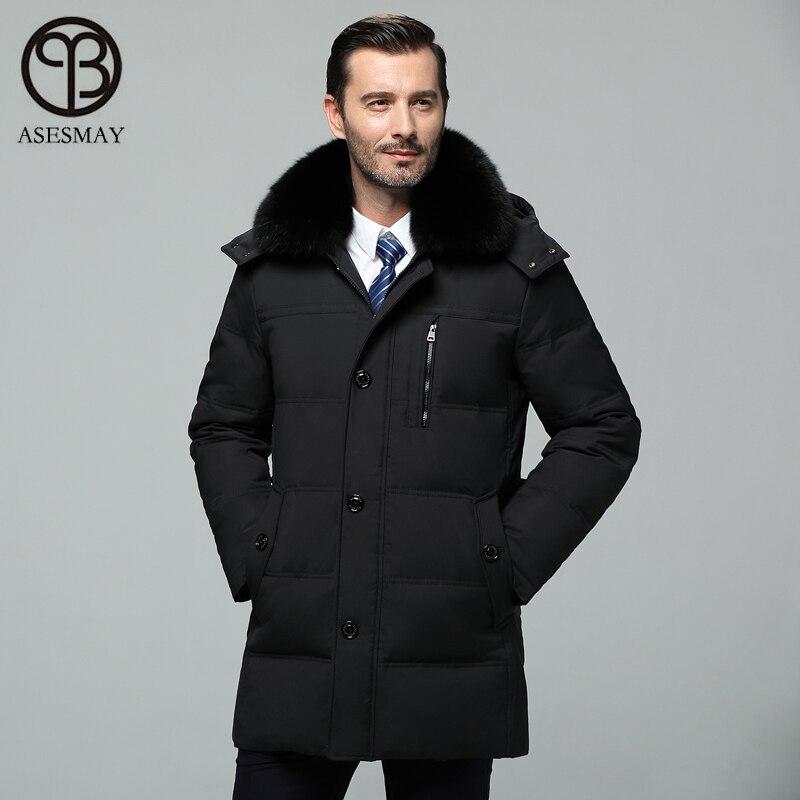 Asesmay 2018 hommes veste d'hiver blanc canard vers le bas manteaux plume d'oie chaud épais hommes parkas affaires smart réel fourrure à capuche vestes