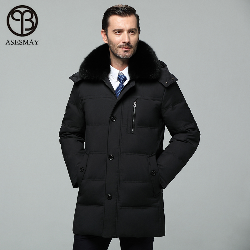 Asesmay 2018 Men Winter Jacket White Duck Down Coats Goose Feather Warm Thick Mens Parkas Business Smart Real Fur Hooded Jackets