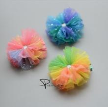 Elegance  Princess barrette Headdress Chiffon Shiny Hairpins Elastic Rubber Bands Children Hair Clip Kids Accessories J28