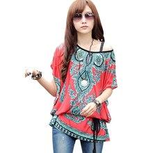 FGirl Women's t Shirt Crop Top Festive Red Ethnic Print Chiffon T-shirts for Women FG30550