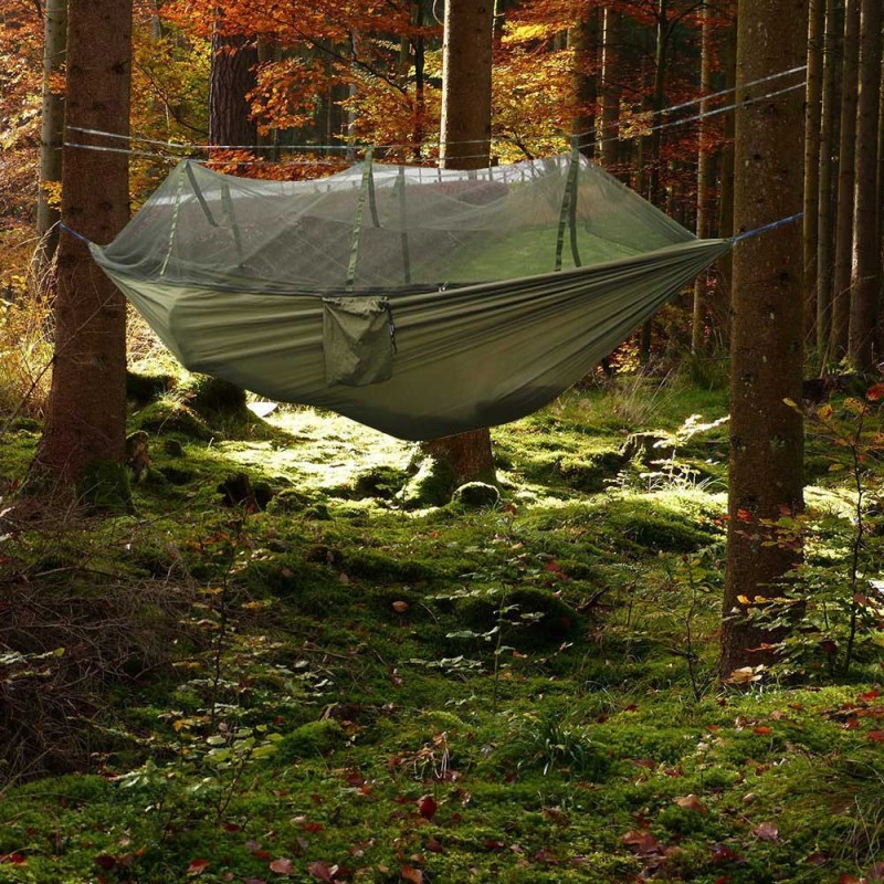 Image 2 - Portable Mosquito Net Parachute Hammock Outdoor Camping Hanging Sleeping Bed Swing Portable Double Chair Double Person Hammocks-in Hammocks from Furniture