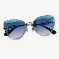 Rimless Cat Eye Sunglasses for Women Brand Designer High Quality Oculos De Sol Feminino UV400 Protection Shades with Packing Box