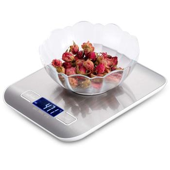 Platforma ze stali nierdzewnej cyfrowa waga kuchenna 10kg 5kg 5000g jedzenie dieta narzędzie pomiarowe waga równowagi wyświetlacz LCD z podświetleniem tanie i dobre opinie MVZAWINO CN (pochodzenie) Kitchen scale 2 * AAA Battery (don t included) 180mm * 140mm* 18mm food scale 4g-5000g 10000g