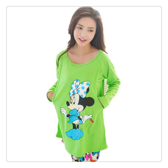 100% Cotton Maternity Sleepwear Suit for Pregnant women Pajamas Nursing Mouse pattern Breast Feeding Nightgown Clothes new 2016