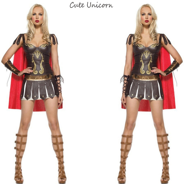 Ladies Roman Greek Xena Gladiator Halloween Costumes Warrior