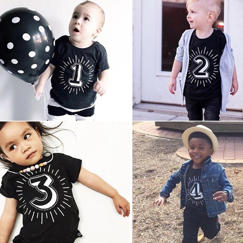 Tshirt Kids Tops Number Short-Sleeve Birthday-Party Black Baby-Girl Boys Children Unisex