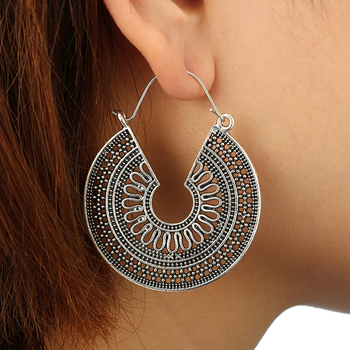 Tocona Vintage Antique Gold Silver Black Hollow Flower Metal Hoop Earrings Womens Fashion Jewelry