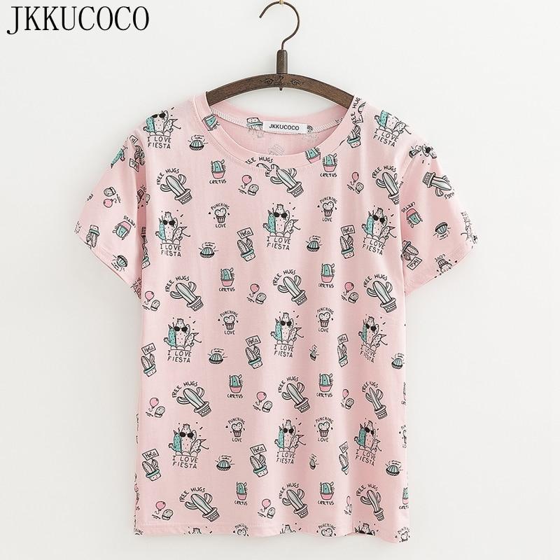 JKKUCOCO Cool Cactus Print tees Korte mouw O-hals Casual T-shirt Dames t-shirt Katoenen shirt Dames tops tee 3 Kleur XS-XL