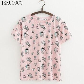 JKKUCOCO Mát Xương Rồng In tees Ngắn Tay Áo O-Cổ Casual T-Shirt nữ t shirt Cotton Áo Sơ Mi Nữ Áo tee 3 Màu XS-XL