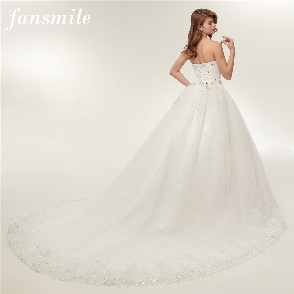 Fansmile Luxury Crystal Rhinestone Long Train Ball Wedding Dress 2017 Plus Size Vintage Bridal Gowns Vestido de Noiva FSM-131T