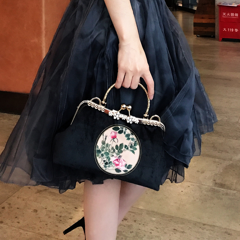 Professionnalisation BRICOLAGE À La Main Artisanat Matériel Paquet Pour Mode Noir Femmes Sac À Main (25x13x8 cm) En Métal-ouverture Cadre Sac Cadeau