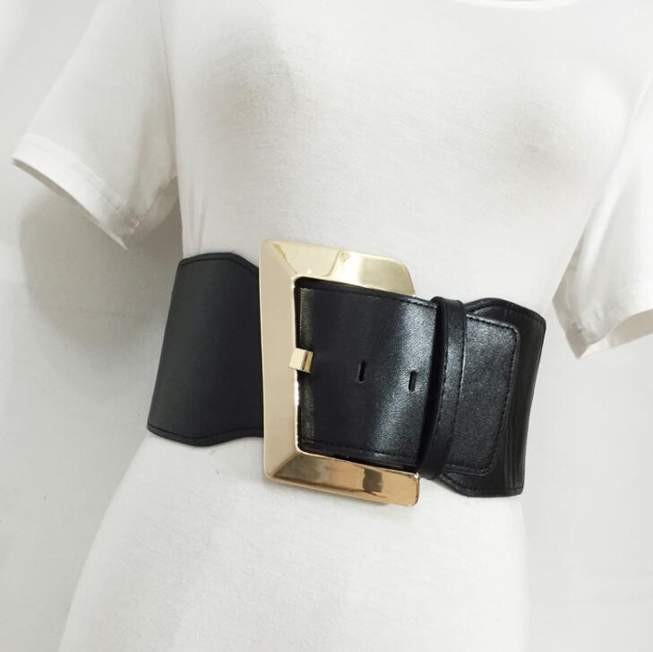 Women's Runway Fashion Pu Leather Elastic Cummerbunds Female Dress Corsets Waistband Belts Decoration Wide Belt R1554