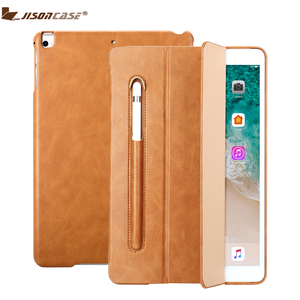 Jisoncase Leather Case For iPad 9.7 Cover Kickstand with Pencil Slot Luxury Shockproof Folio Tablet Cover For 2018 iPad A1893