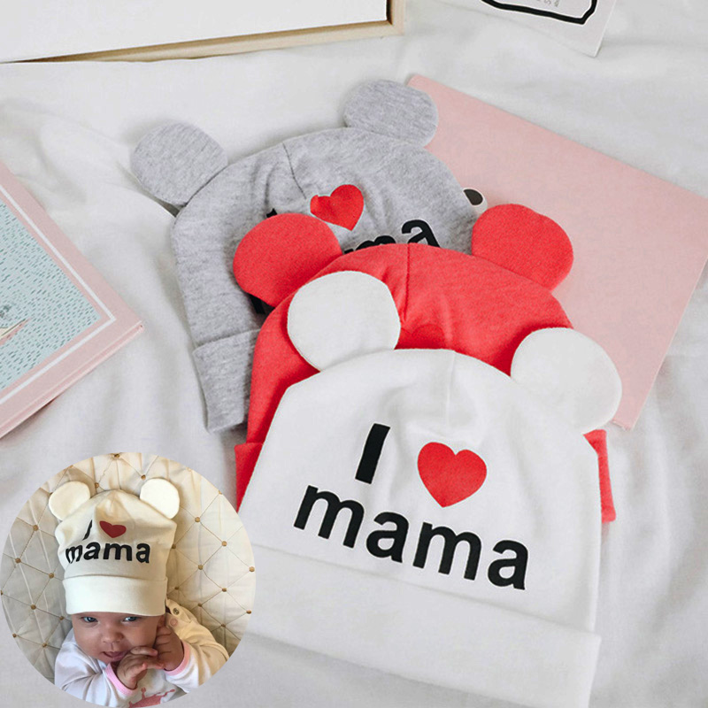 Cute Ear Baby Hat Newborn Boys Girls Cotton Skullies Beanie Soft Spring Kids I Love mama papa Printed Caps(China)