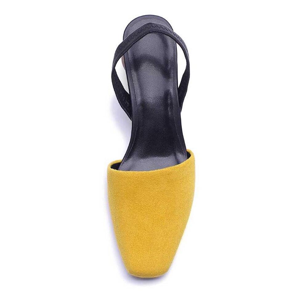 Arrière Style Sangle Couleur Carré Étrange Rond Chaussures Dames Femmes yellow Sandales Kid Cristal Bout White Pompes Cowhide Knsvvli Mélangée Suede Ballon Talon Concise aYz6w