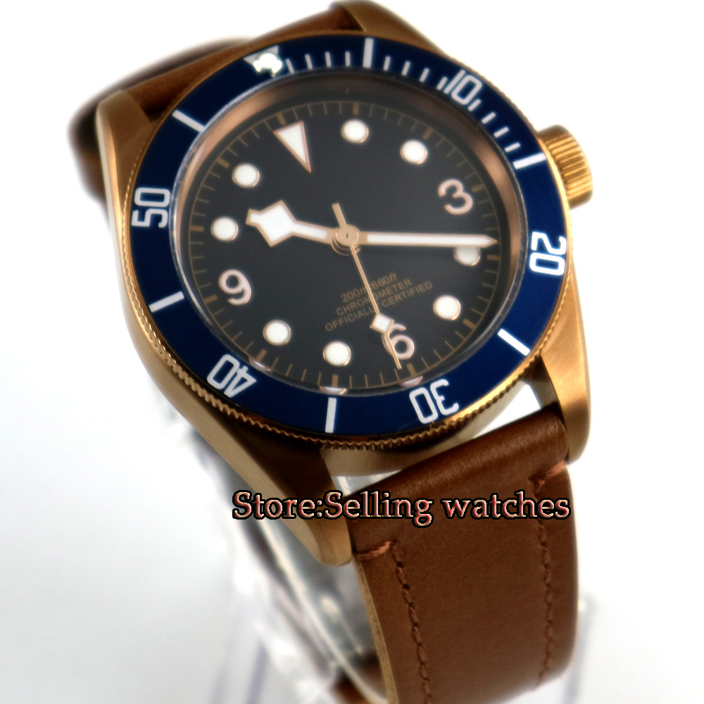 41mm CORGUET black sterile dial coffee case Sapphire Glass miyota automatic mens Watch цена и фото