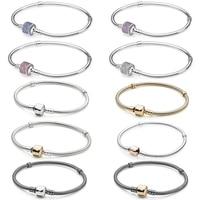 NEW 100% 925 Sterling Silver Classic head bracelet Clear CZ Charm Bead fit pendant DIY Bracelets The factory wholesale