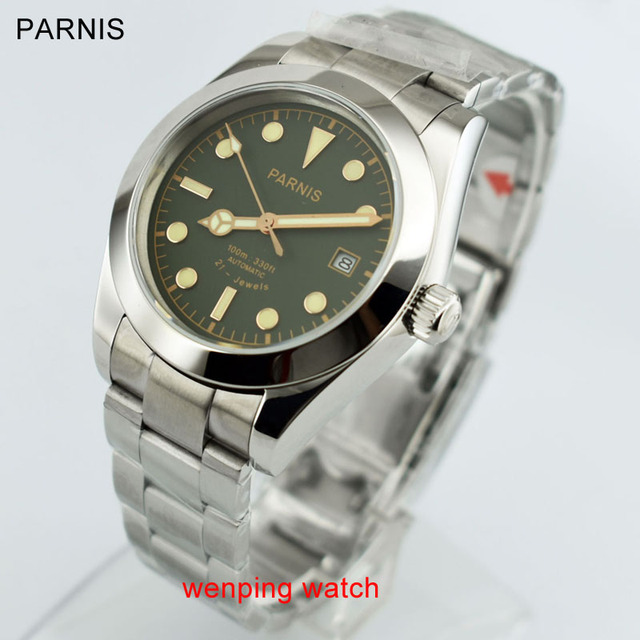 40mm Parnis Sapphire Green black gray series Dial Miyota 8215 Automatic Movement Men's Watches