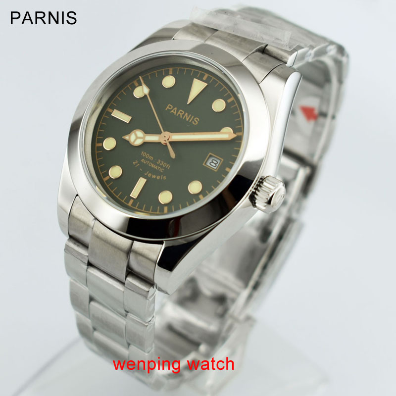 40mm Parnis Sapphire zielony czarny szary serii Dial automatyczny ruch zegarki męskie w Zegarki mechaniczne od Zegarki na  Grupa 1