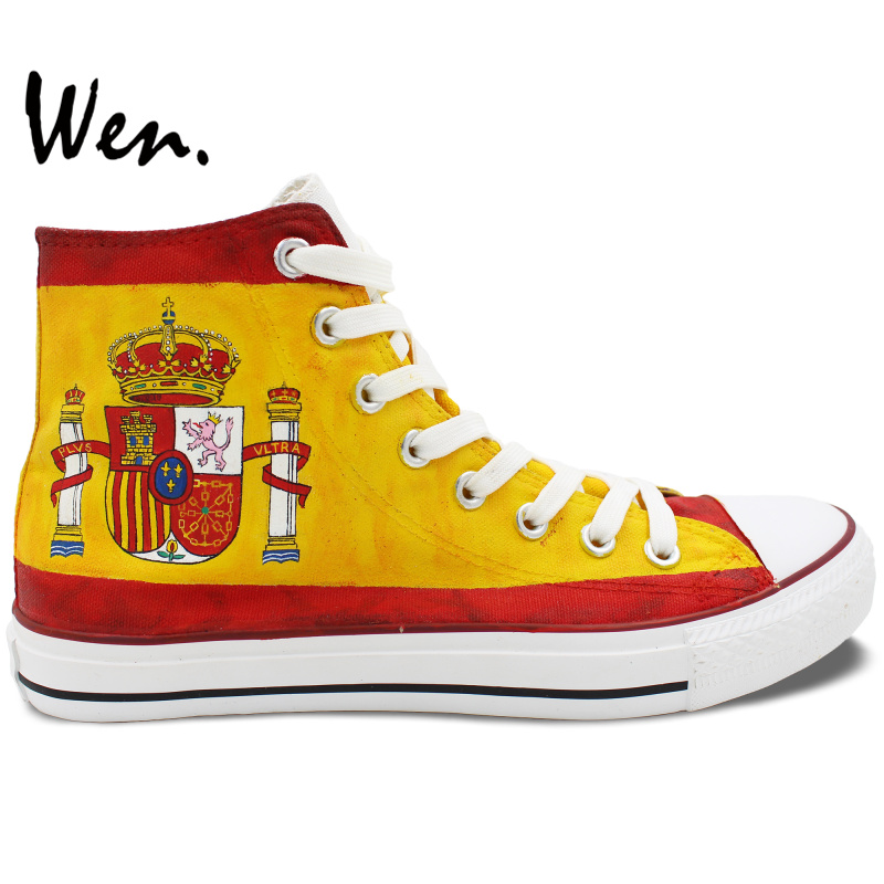 Wen Hand Painted Canvas Shoes Design Custom Spain Flag Men Women's High Top Canvas Sneakers for Christmas Gifts wen customed hand painted shoes canvas the beatles high top women men s sneakers black daily trip shoes special christmas gifts