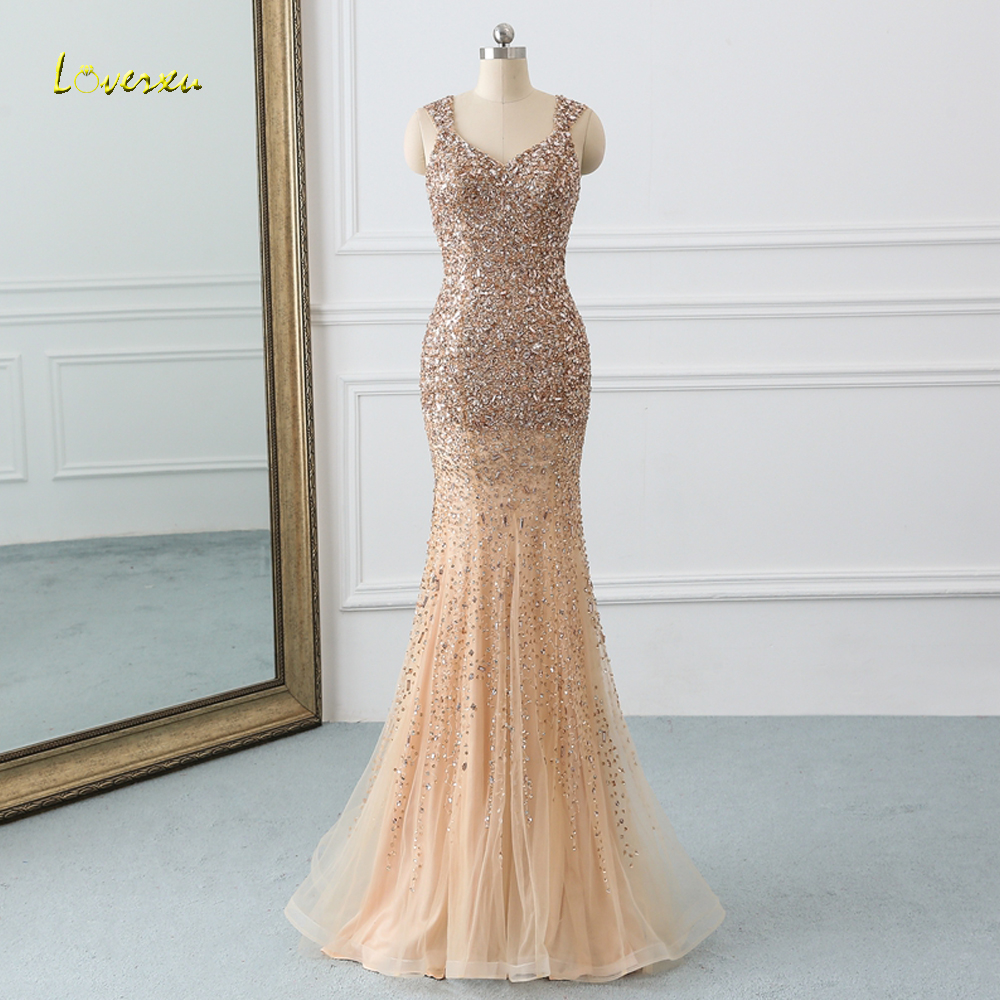 Loverxu Sexy Beading Crystal Long Mermaid   Prom     Dresses   2019 Luxury Sweep Train Illusion Trumpet   Dress   for Party Vestido De Festa