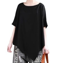 Short Sleeve Irregular Hem Modal T-Shirt High Elasticity Loose Tshirt Women Solid O Neck T Shirt 2019 Summer Fashion