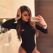 Skinny Rompers Womens Jumpsuit Slim Cute Red Lips Long Sleeve Bodysuit Overalls Sexy Club Bodysuit Overall Femme HGP1011