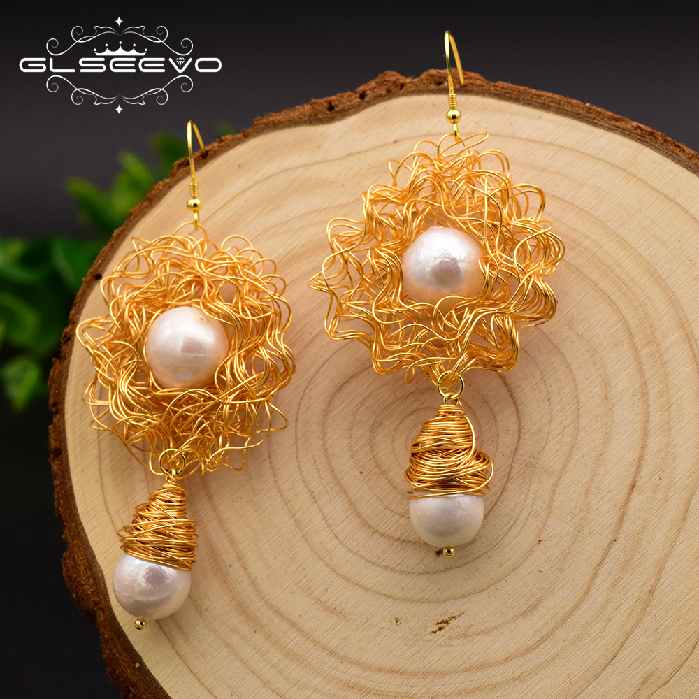 XlentAg Handmade Natural Fresh Water Baroque Pearl Dangle Earrings For Women Wedding Party Gifts Drop Earrings Jewellery GE0499 in Earrings from Jewelry Accessories