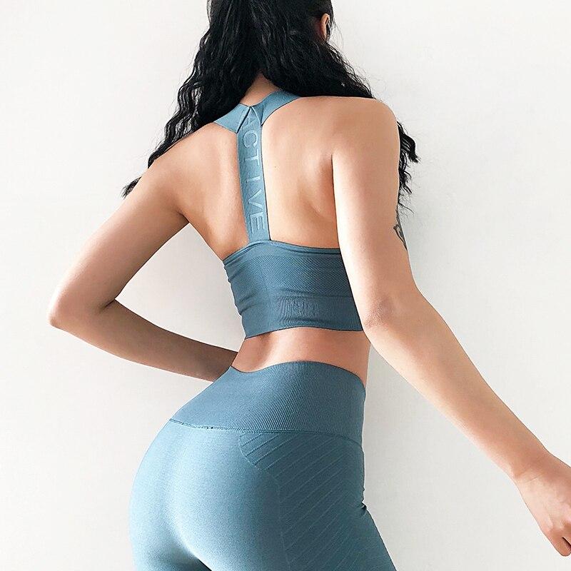2019 Seamless Sports Bra Top Fitness Women T Backs Running