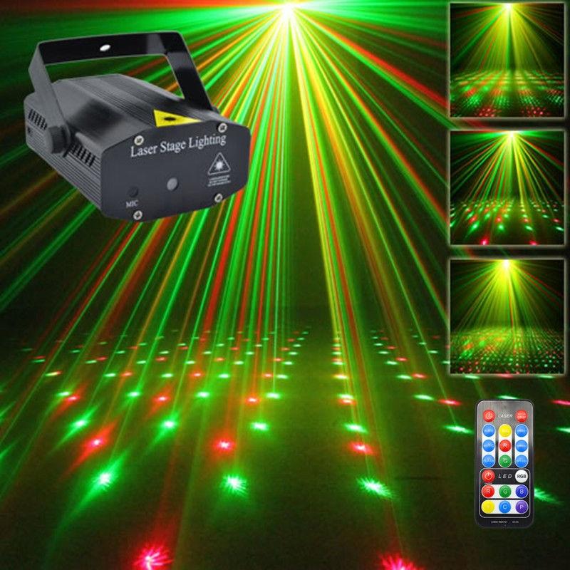 f7fd79bb9f6 AUCD Mini portátil de control remoto IR RG meteoro láser proyector luces de  DJ KTV Casa de fiesta de Navidad Dsico LED iluminación de escenario OI100B