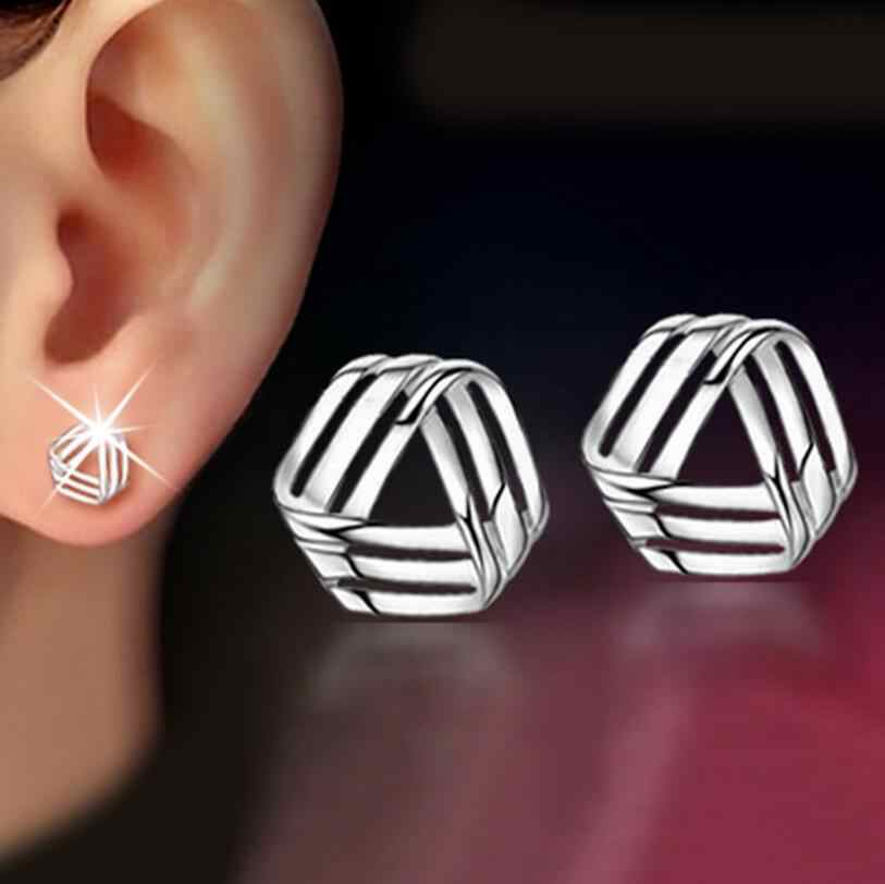 925 Sterling Segitiga Twisted Stud Anting-Anting Fashion Perhiasan untuk Wanita Brincos S-E147