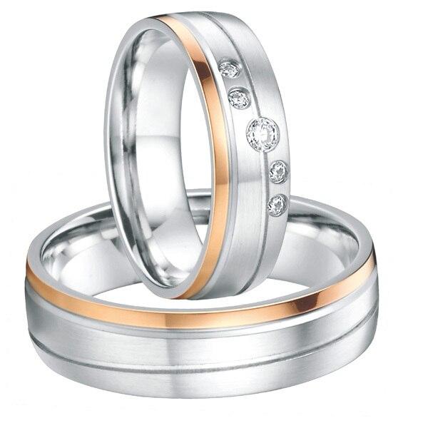 Свадьбы пара кольца для мужчин и женщин роуз позолоченные titanium его и ее обещание кольца обручальные