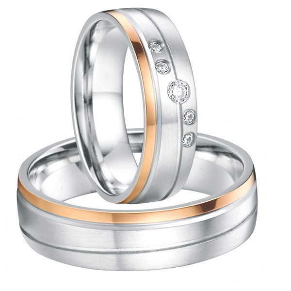 wedding couple rings for women and men rose gold color titanium
