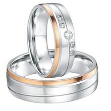 Pares de la boda anillos para hombres y mujeres rose plateó titanium his and hers promesa anillos de compromiso