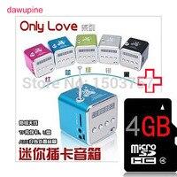 Dawupine TD-V26 Mini Lecteur MP3 + 4 GB TF Carte USB Disque Micro SD Carte FM Radio Ligne In/Out Sound Box Numérique Portable haut-parleur