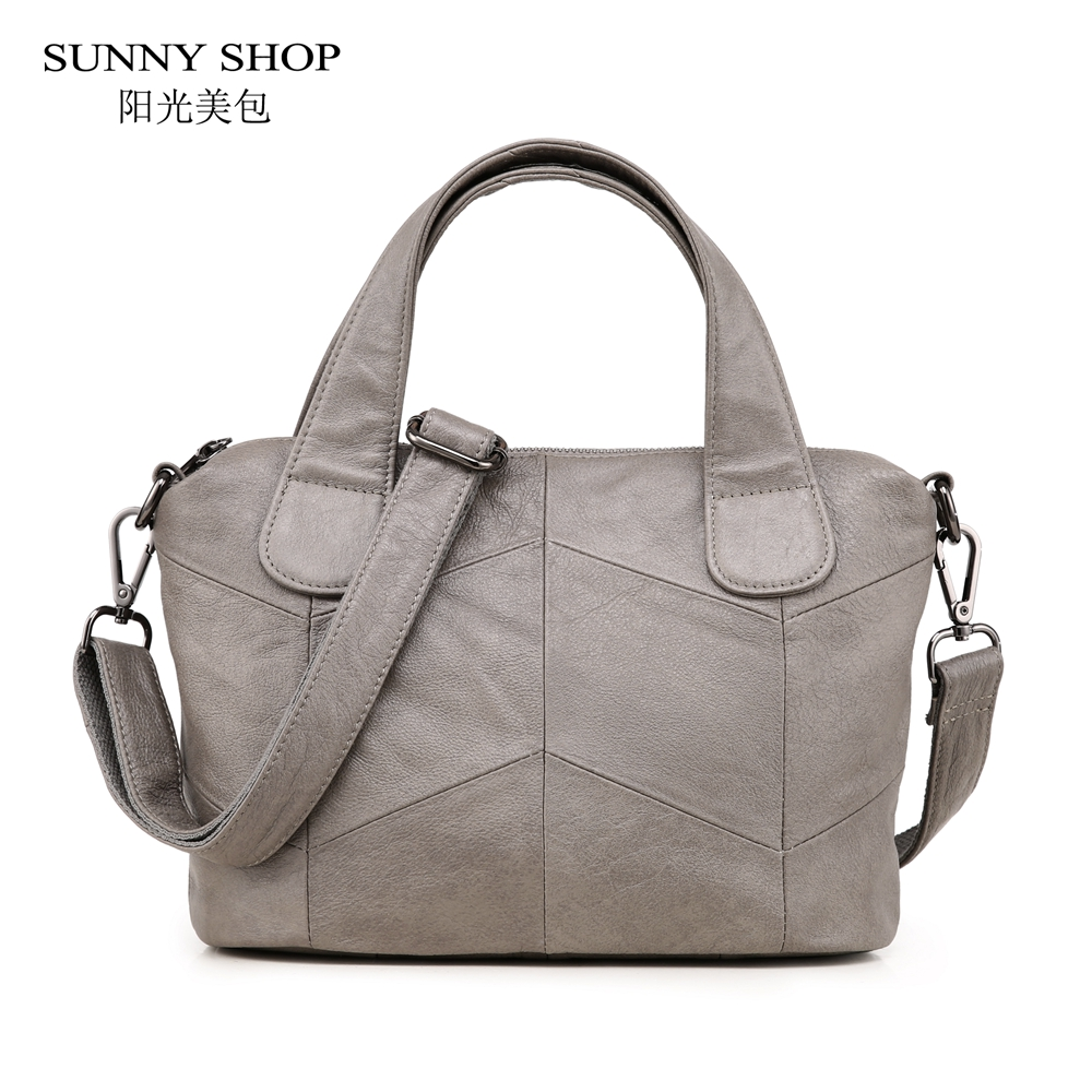 SUNNY SHOP Brand Designer Luxury 100% Genuine Leather Bag Women Purses and Handbags Plaid Vintage Shoulder Bag Soft Real Leather vintage designer 100