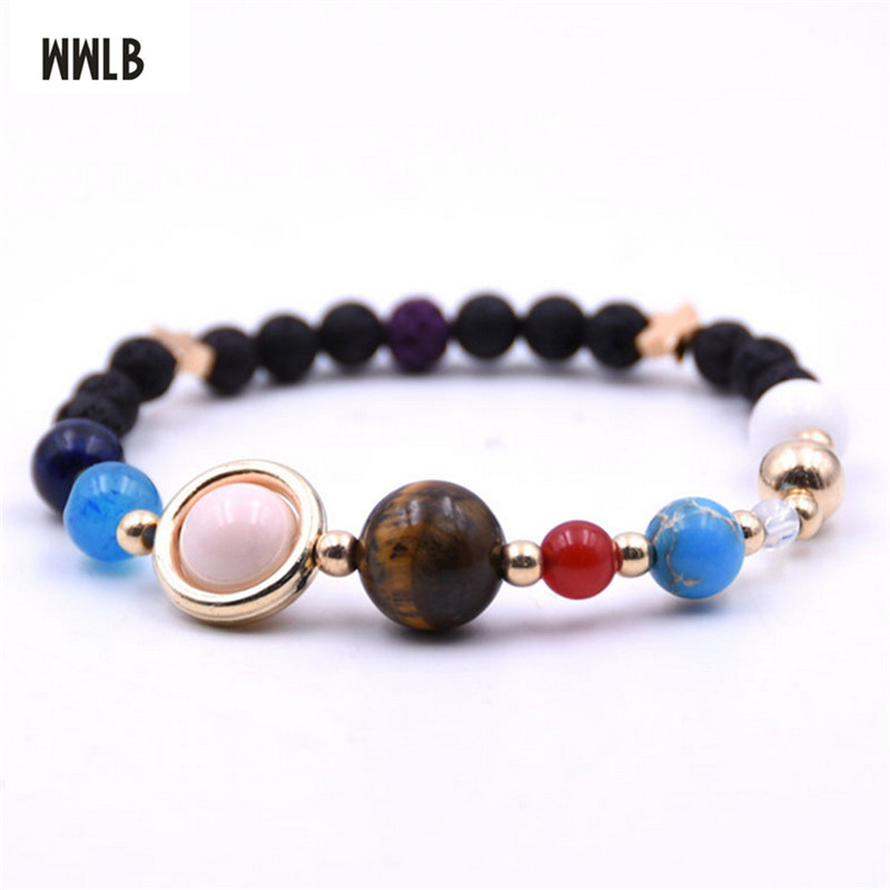 Charm Stone Bracelet Universe Galaxy the Eight Planets in the Solar System Guardian Star Bracelet for Women Men NEW Dropshipping