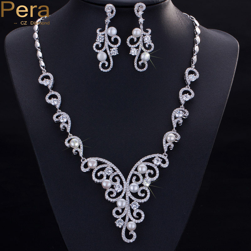 Pera Luxury Wedding Accessories Cubic Zirconia Stone Natural Freshwater Imitation Pearl Necklace Jewelry Sets For Brides J026 pera luxury bridal wedding imitation pearl jewelry green cz stone pave setting big long hanging earrings for brides e045
