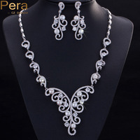 Pera Luxury Wedding Accessories Cubic Zirconia Stone Natural Freshwater Imitation Pearl Necklace Jewelry Sets For Brides J026