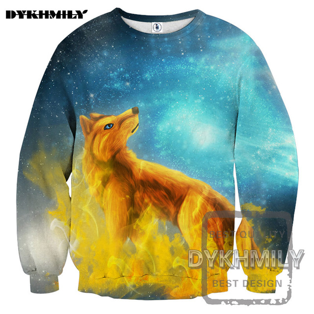 47cd7cb963a4 Dykhmily Yellow Wolf Blue Original Design Of Men s 3d Printed Circular Neck  And Body Sportwear Leisure And Long Sleeve Clothes