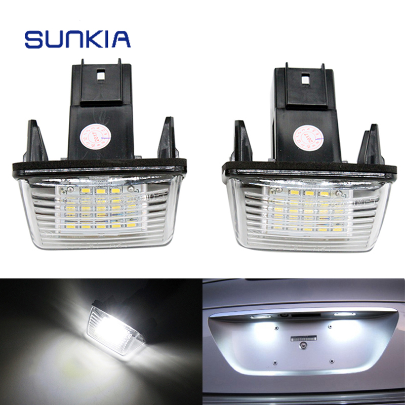 2Pcs/Set SUNKIA LED Number License Plate Light Replacement Lamps For Peugeot 206 207 306 307 308 406 407 Partner Tepee 2pcs led license number plate light for peugeot 206 207 306 307 308 5008 406 407 for citroen picasso c3 c4 c5 c6 saxo xsara