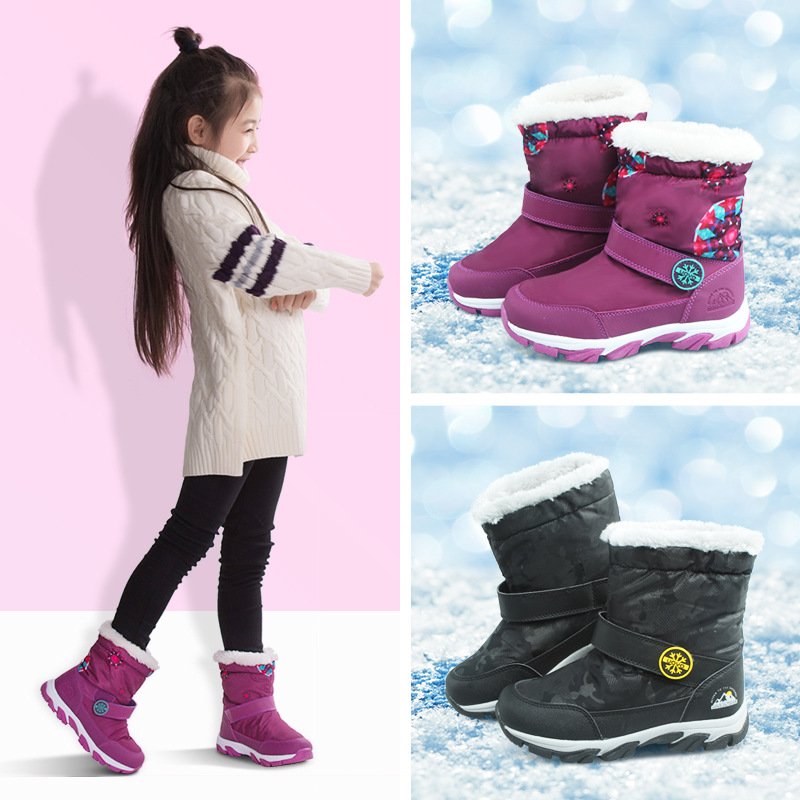 UOVO Kids Snow Boots Winter Thermal Shoes For Boys Girls Shoes Nonslip Shoes Waterproof Purple Boots For Children Mid-Calf