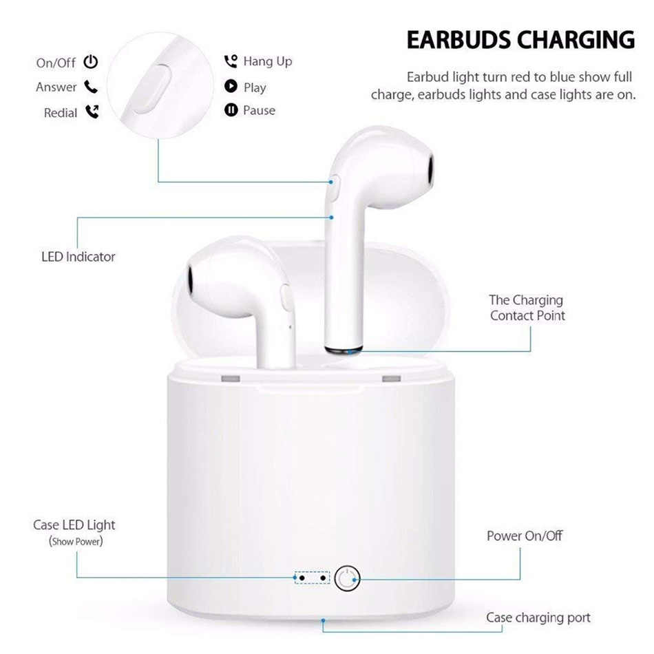 I7s TWS słuchawki Bluetooth Ture bezprzewodowy zestaw słuchawkowy Stereo bezprzewodowe słuchawki douszne słuchawki sportowe słuchawki douszne z mikrofonem do telefonów iphone najnowszy