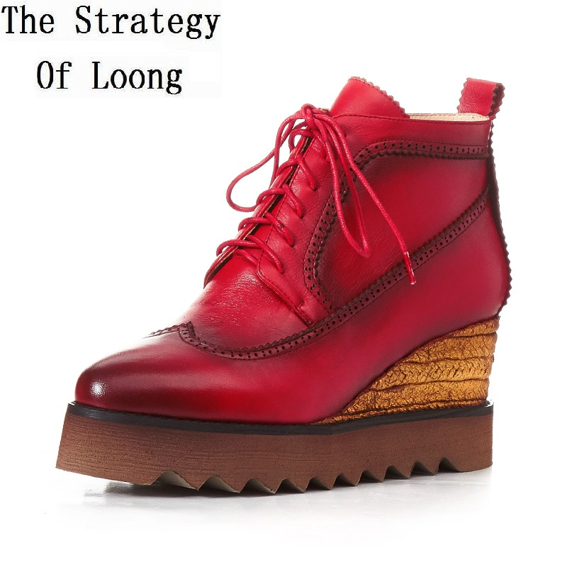 Fashion Arrival Lace Up Full Grain Leather Chunky Heels Shoes Spring Autumn Pointed Toe Wedge High Heel Ankle Boots ZY170826 цены онлайн