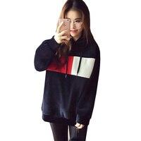 Plus Big Size Pullover Sweatshirts Women Spring Autumn Winter 2017 Feminina Loose Velour Print Hooded Fleeces
