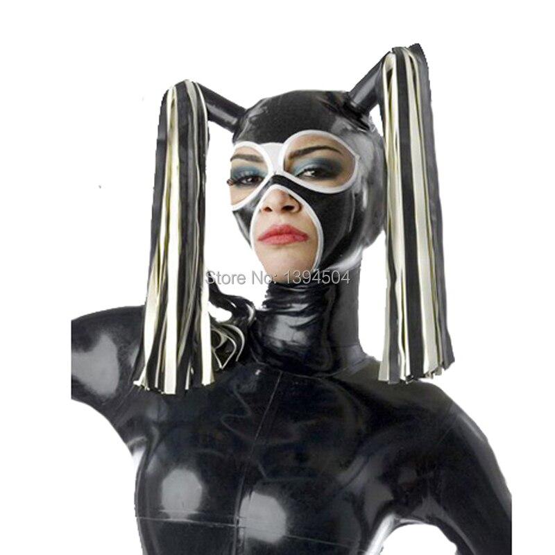 2017 nouvelles hottes en Latex faites à la main exotiques avec masque fétiche pour les cheveux