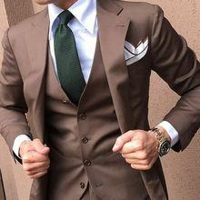 3PCS Brown Men Suits Slim Fit Groom Tuxedos Wedding Formal 38 40 42 44+ Custom