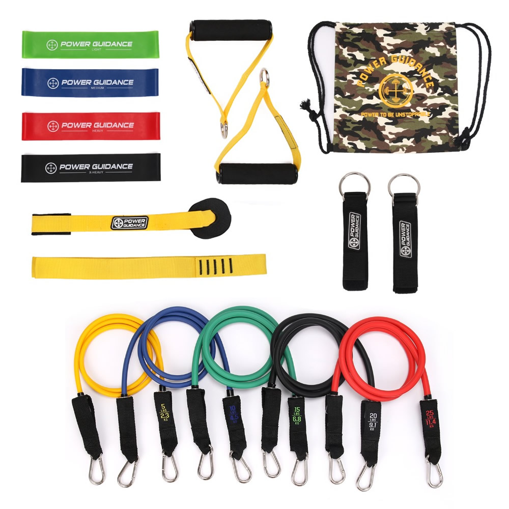 15 in 1 Home Gyms Workout Nature Latex Resistance Band Pull Rope Set Yoga Fitness Expander Tubes Exercise Training Rubber Band